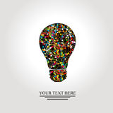 与五颜六色的网络的创造性的电灯泡 免版税库存照片