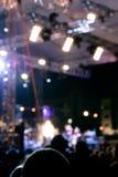 与五颜六色的聚光灯的露天舞台在摇滚乐音乐会期间 蓝蓝 免版税库存照片