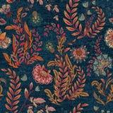 与五颜六色的花卉图案的蓝色牛仔布 向量无缝的墙纸 皇族释放例证