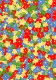 与五颜六色的花和叶子的背景 免版税库存照片