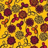 与五颜六色的花的无缝的传染媒介样式 向量例证