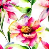 与五颜六色的花的无缝的墙纸 免版税库存照片