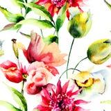 与五颜六色的花的无缝的墙纸 免版税图库摄影
