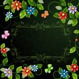 与五颜六色的花的花卉例证 库存图片