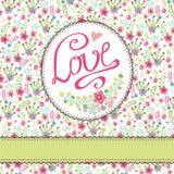 与五颜六色的花的葡萄酒花卉卡片 题字Lo 库存照片