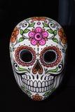 与五颜六色的花的面具在黑背景 免版税库存照片