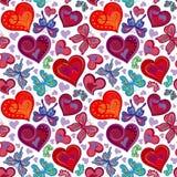 与五颜六色的葡萄酒红色和蓝色蝴蝶,花,心脏的无缝的华伦泰样式 也corel凹道例证向量 图库摄影