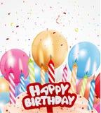 与五颜六色的蜡烛和光的生日背景 皇族释放例证