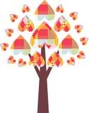 与五颜六色的补缀品心脏的树 美丽的看板卡 免版税库存照片