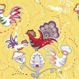 与五颜六色的装饰鸟的无缝的纹理 库存图片