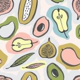 与五颜六色的设计的无缝的果子样式 库存例证