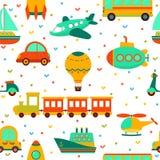 与五颜六色的运输的无缝的样式 逗人喜爱的儿童backgrou 库存图片