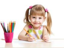 与五颜六色的铅笔的孩子图画 图库摄影