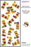 与五颜六色的镶边袜子的视觉逻辑难题 免版税库存照片