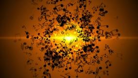 与五颜六色的音乐笔记的抽象背景 无缝的圈 向量例证