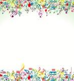与五颜六色的音乐笔记的抽象背景 库存图片