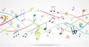 与五颜六色的音乐笔记的抽象背景 库存照片