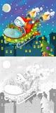与五颜六色的预览的着色圣诞节页 库存照片