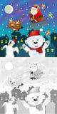 与五颜六色的预览的着色圣诞节页 免版税库存图片