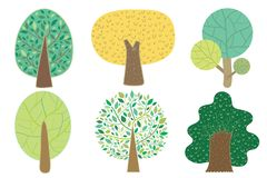 与五颜六色的颜色的各种各样的树A逗人喜爱的传染媒介样式 向量例证