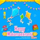 与五颜六色的风筝的Makar Sankranti墙纸 免版税图库摄影