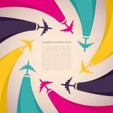 与五颜六色的飞机的背景 免版税库存照片