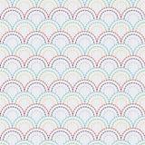 与五颜六色的鱼鳞的传统日本刺绣装饰品 模式无缝的向量 图库摄影