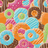 与五颜六色的鲜美光滑的油炸圈饼的无缝的样式 库存照片