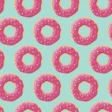 与五颜六色的鲜美光滑的油炸圈饼的无缝的样式 免版税库存图片