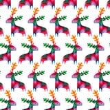 与五颜六色的鹿的圣诞节无缝的样式 免版税图库摄影