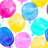 与五颜六色的水彩气球的无缝的样式 免版税库存照片