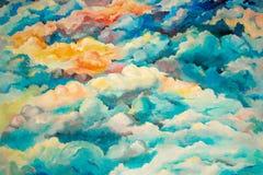 与五颜六色的水彩污点的抽象样式 免版税库存照片