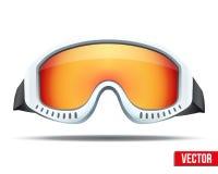 与五颜六色的玻璃的经典雪板滑雪风镜 免版税库存照片