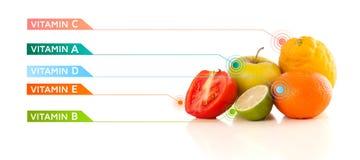 与五颜六色的维生素标志和象的健康果子 免版税库存照片