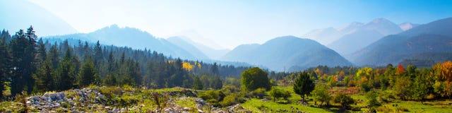与五颜六色的绿色,红色,黄色树和山峰的充满活力的秋天全景背景 库存照片