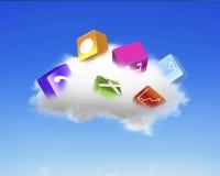 与五颜六色的app块的白色云彩 免版税库存照片