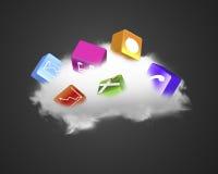 与五颜六色的app块的白色云彩 库存图片