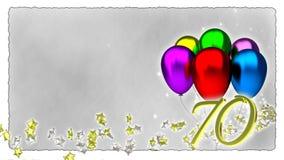 与五颜六色的baloons -第70的生日概念 向量例证