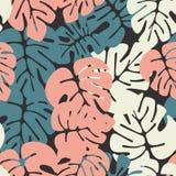 与五颜六色的monstera棕榈叶的夏天无缝的热带样式 库存例证