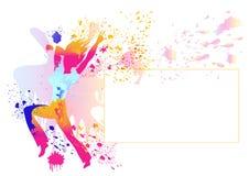 与五颜六色的splats的女孩剪影在白色 免版税库存照片
