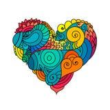与五颜六色的zentangle花卉心脏剪影的装饰StValentine ` s贺卡 传染媒介心脏例证与 免版税库存图片