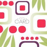 与亚洲样式、寿司和叶子,原始的设计,装饰元素五颜六色的传染媒介例证的卡片 免版税图库摄影