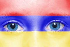 与亚美尼亚旗子的面孔 免版税库存图片