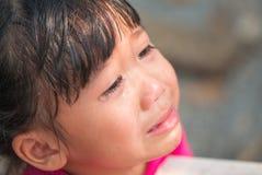 与亚裔女孩泪花的眼睛  免版税图库摄影