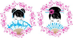 与亚裔女孩画象的佐仓花圈  库存图片