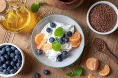 与亚麻籽油和蓝莓的酸奶干酪 图库摄影