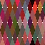 与交叉点小点的菱形五颜六色的无缝的样式 包装纸的反复背景 模板 库存图片
