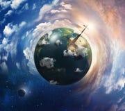 与交叉的地球。 免版税库存照片