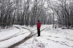 与交叉路和一个人的冬天风景 免版税库存照片