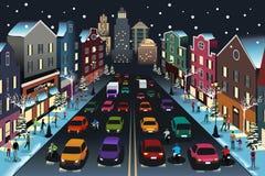 与交通的城市场面在夜例证 库存图片